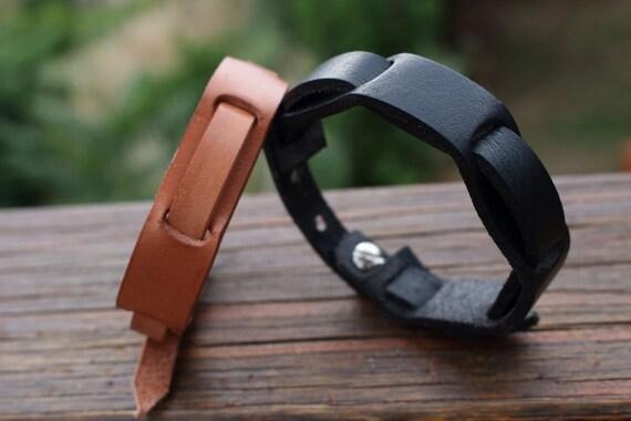 Mens Leather Bracelet bronze button clasp, simple manly rugged Leather Bracelet, Minimalis leather bracelet for man.