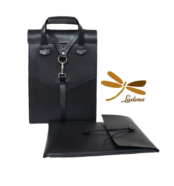 Laptop leather accesories. Backpack and case for your laptop. A lovely, elegant and simple handmade leather combination.