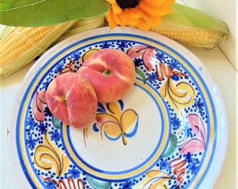 Faience Dish Antique Continental Hand Painted Tin Glazed Earthenware Plate Serving Tableware
