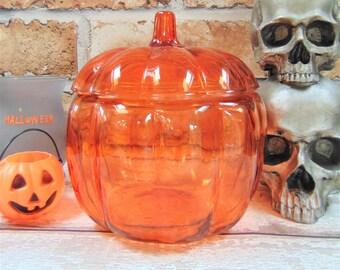 Anchor Hocking Pumpkin Jar Orange Glass Candy Jar Lidded Novelty Retro Halloween Party Trick or Treat