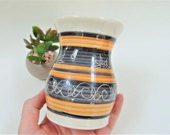 Dee Cee Dragon Pottery Rhayader Wales Striped Pot Posy Vase Vintage Ceramics Home Decor Interior Design
