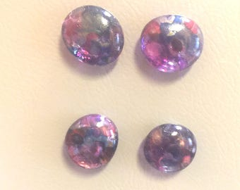 Alcohol Ink Round Glass Magnets Pink Purple Blue