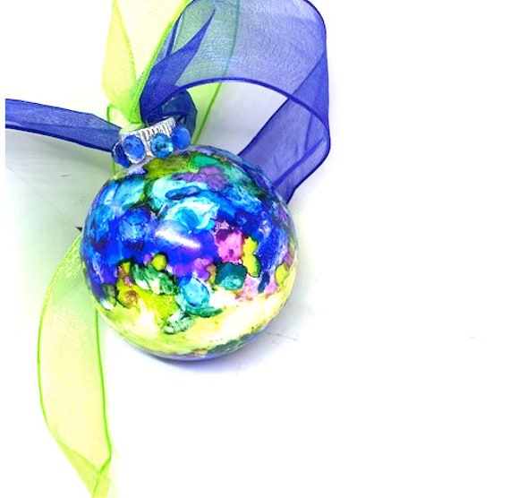 Alcohol Ink Christmas Ornaments.Royal Blue Pink And Purple Alcohol Ink Hand Painted Round Glass Christmas Ornament Rhinestone Ribbon Babies Breath Top