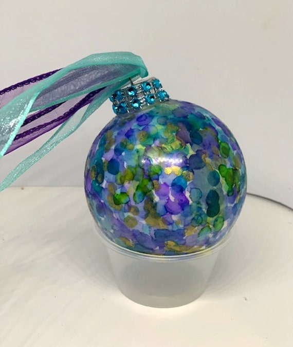 Alcohol Ink Christmas Ornaments.Hand Painted Shatterproof Christmas Ornament Alcohol Ink Blue Purple Green Rhinestone Top