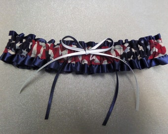 Stars and stripes American flag Patriotic July 4th brides wedding garter set Au Made brides garter red white blue garter