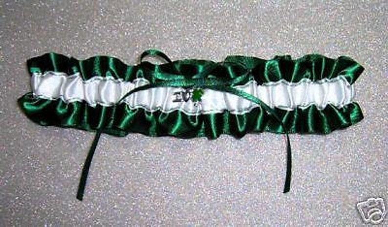 I Love Shamrock Irish Keepsake Wedding Toss Prom garter white  green
