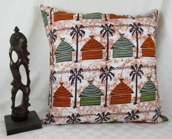 African Huts Wax Print Print Pillow Cover African Home