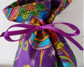 Bright and Colorful, Christmas, Laurel Burch Fabric Gift Bags/Treat Bags, with Ribbon