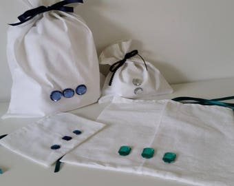 Elegant White Fabric Gift Bags / Treat Bags White Pattern, with Ribbon Ties and Crystal Jewels