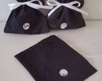 Elegant Black Fabric Gift Bags / Treat Bags, Black Pattern, with Ribbon and Crystal Jewel