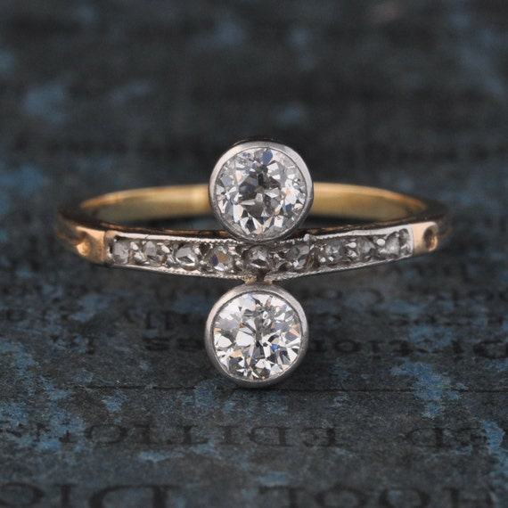 Art Deco Diamond Engagement Ring-Edwardian Engagem