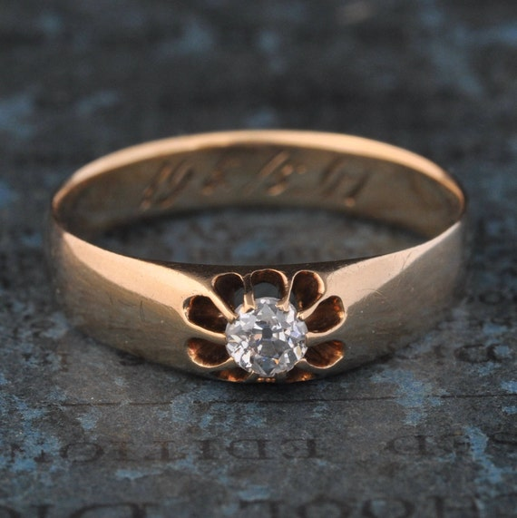 Victorian Engagement Ring-Antique Old Mine Cut Dia