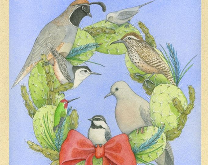 Cactus, Pine, and Wild Bird Christmas Card (Cactus & Pine Christmas)