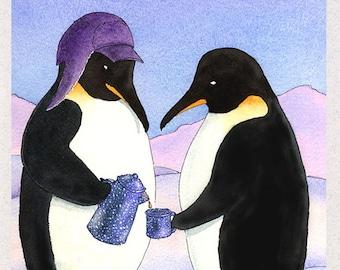 Penguins (Antarctic Coffee Break) Greeting Card