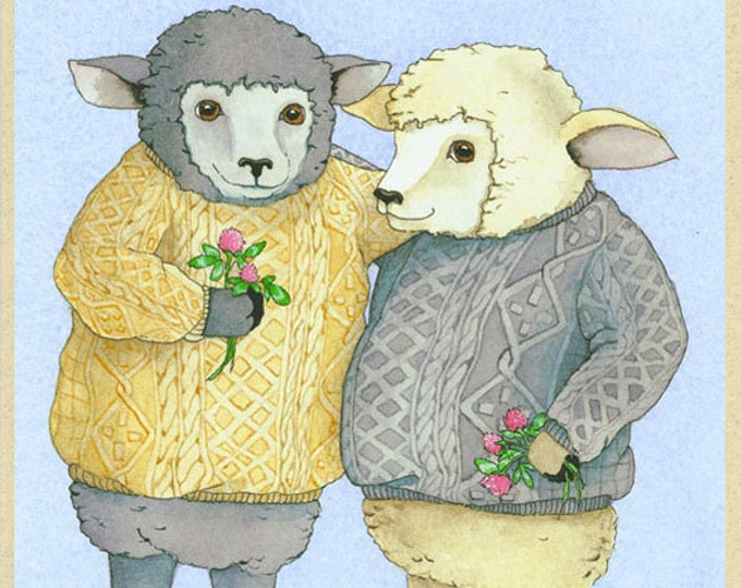 Sheep in Knitted Sweaters (Wooly Twosome) Greeting Card