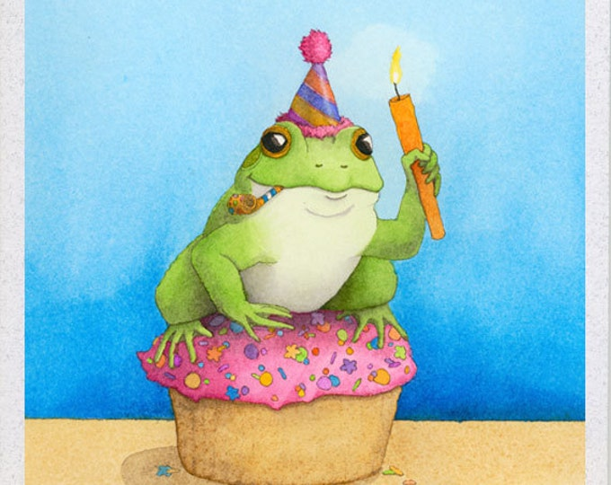 Cupcake Frog Birthday Card