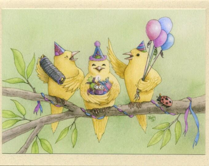 Birds in Party Hats (Birthday Tweetings) Greeting Card