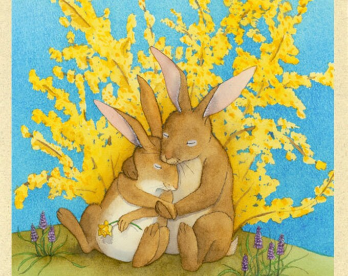 Rabbit Couple (Snuggle Bunnies) Greeting Card