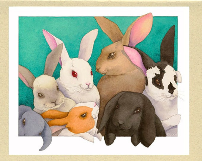 Rabbit Group (Mopsy & the Easter Gang) Greeting Card