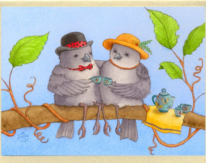 Birds in Hats (Tea for Two) Greeting Card