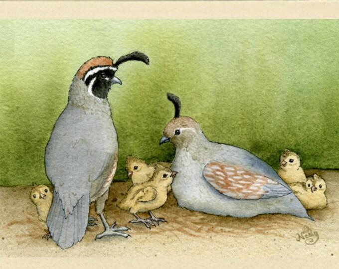 Quail Family Time Greeting Card