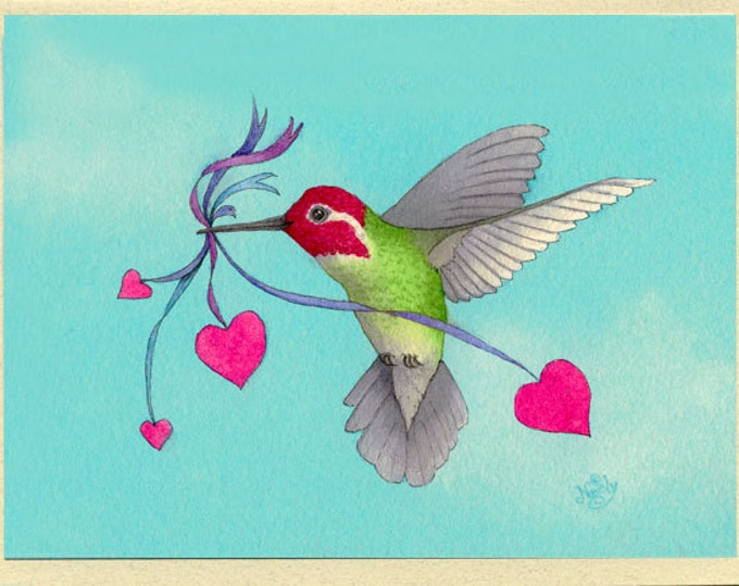 Hummingbird with Hearts (Hover Lover) Greeting Card