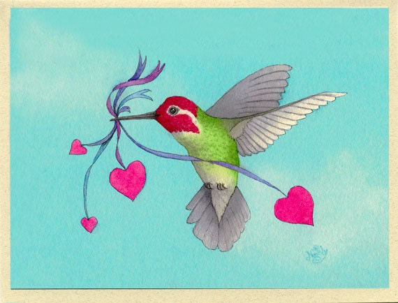 Hummingbird with hearts hover lover greeting card m4hsunfo