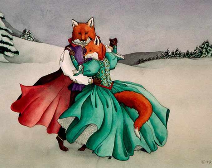 Waltzing Foxes Matted Print