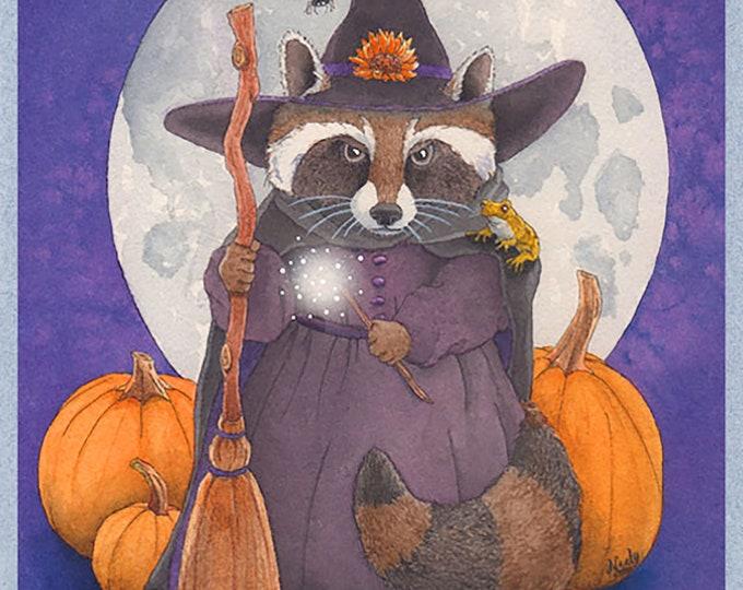 Halloween Raccoon Witch (Magical Halloween) Card