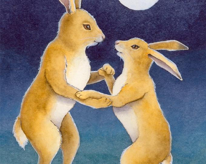 Rabbit Couple Dancing (Moon Dance) Matted Print