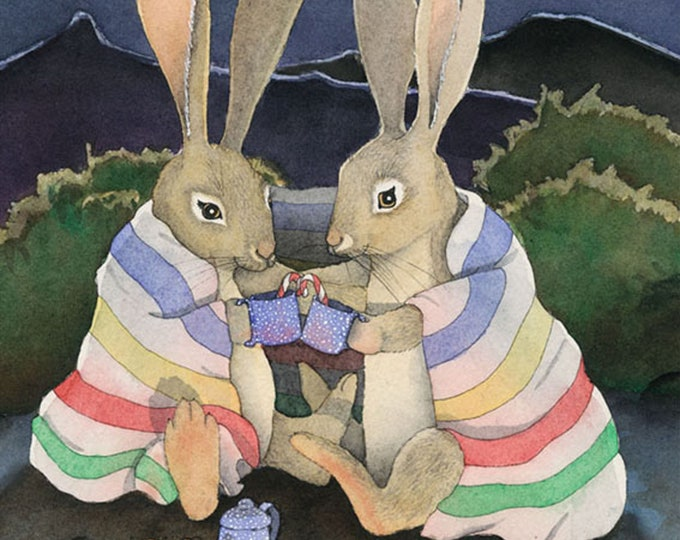 Jackrabbits (On A Cold Desert Night) Matted Print