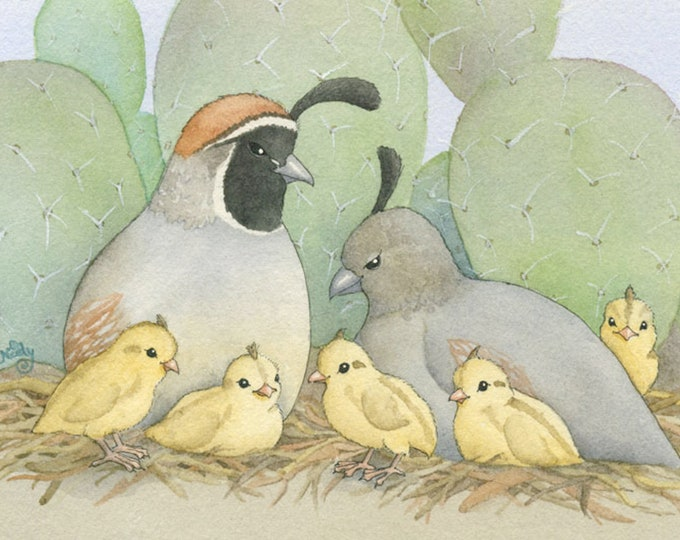 Quail Family (Sweet, Happy Life) Matted Print