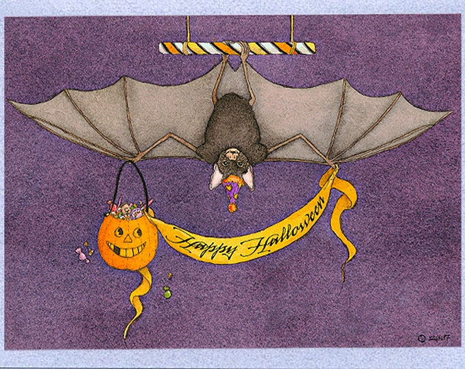 Halloween Bat with Jack-O-Lantern (Batty Trick-R-Treater) Card