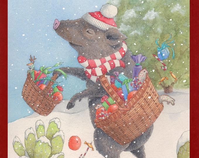 Javelina Santa (Santa's Hairy Helper) Christmas Card