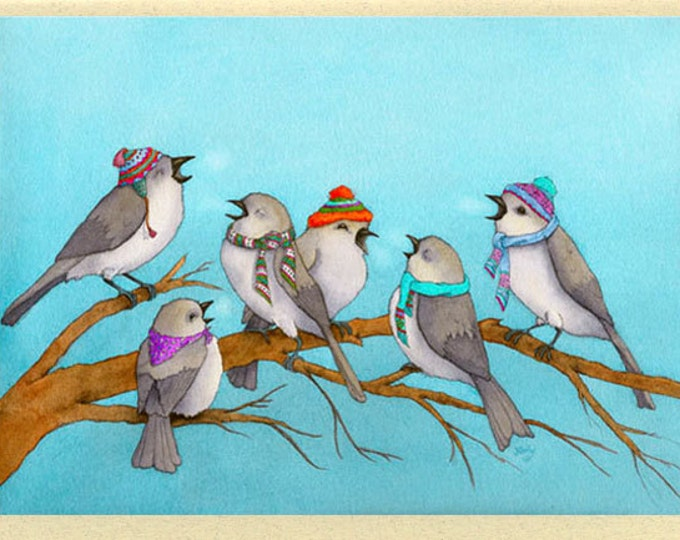 Birds in Winter Hats (Winter Song) Greeting Card