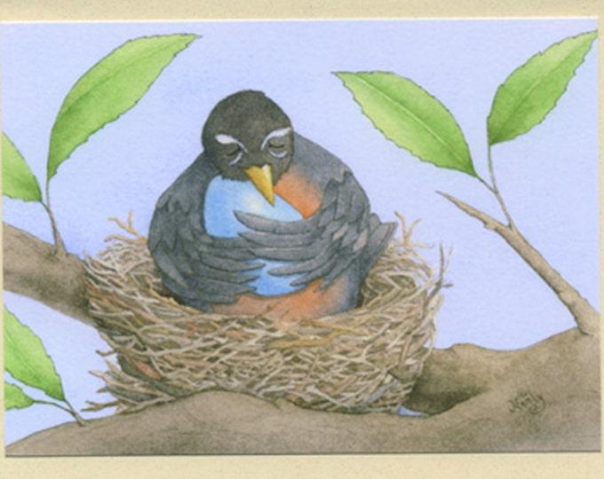 Robin in a Nest (Eggbert) Greeting Card