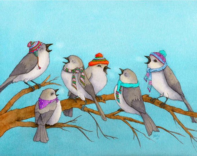 Birds in Winter Hats (Winter Song) Matted Print