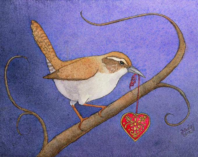 Bird with a Heart (A Little Wren Stole My Heart) Matted Print