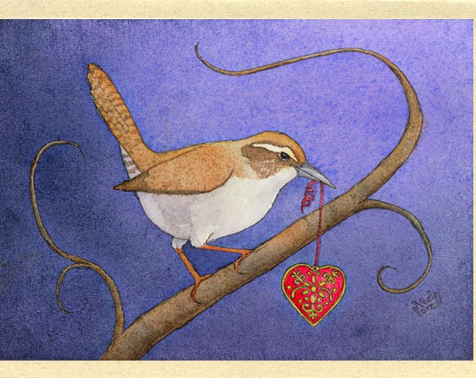 Valentine Bird with a Heart (A Little Wren Stole My Heart) Greeting Card