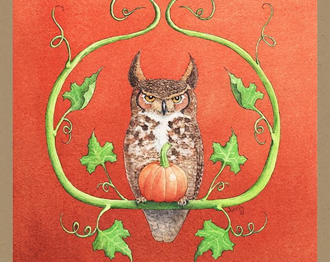 Autumnal Owl Greeting Card