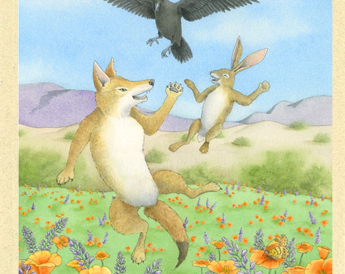 Coyote, Raven, Jackrabbit Card (Tricksters Three)
