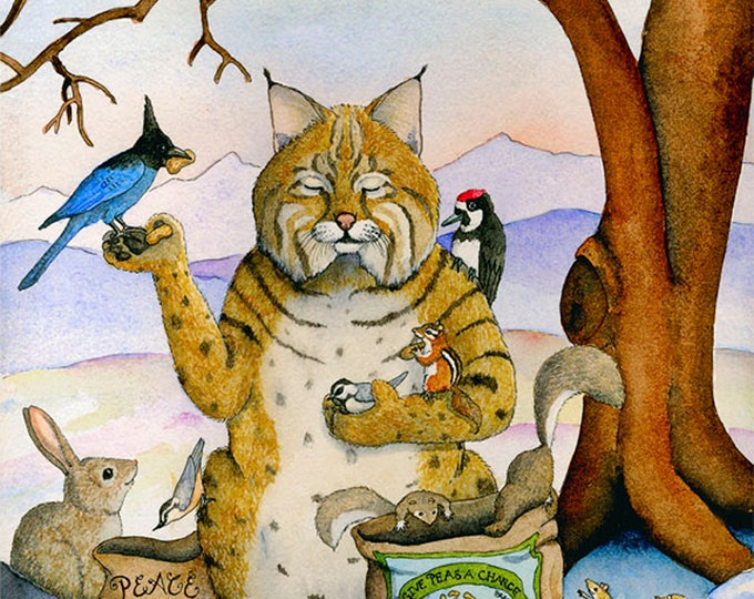 Peace Please (Bobcat) Matted Print
