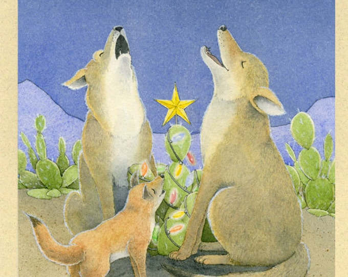 Coyotes Howling (Happy Howl-A-Day) Christmas Card