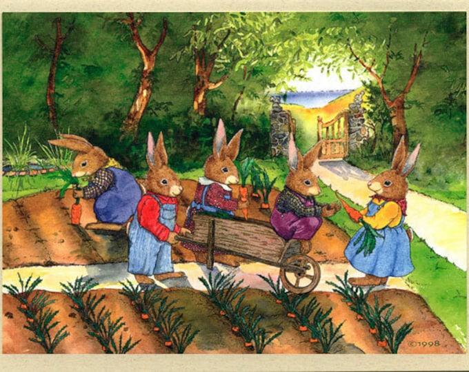 Rabbits in the Garden (Garden Party) Greeting Card
