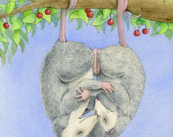 Oh! Possum Love Matted Print