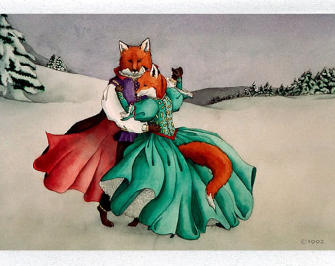 Waltzing Foxes Greeting Card