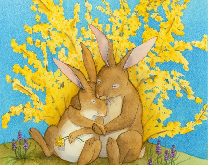 Rabbit Couple (Snuggle Bunnies) Matted Print
