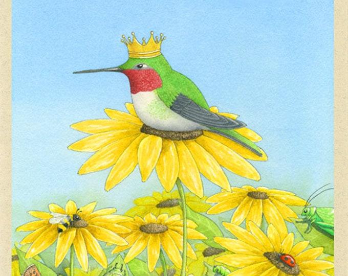 Hummingbird with a Crown (King Gloriosa) Greeting Card