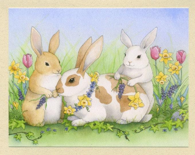 Rabbits and Flowers (Nutmeg, Cinnamon, & Sugar) Greeting Card