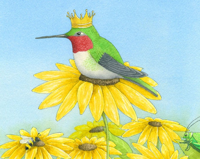 Hummingbird with a Crown (King Gloriosa) Matted Print